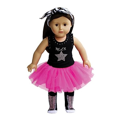New York Doll Collection Rock Star Tutu, Sock & Headband (NYDC1075)