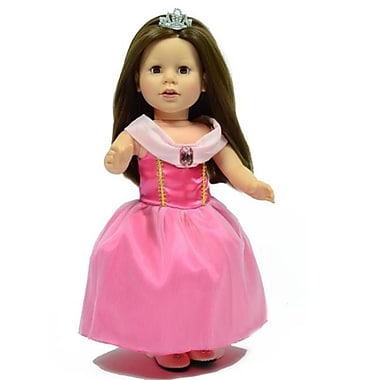 New York Doll Collection Pink Princess Costume with Tiara Crown (NYDC1136)