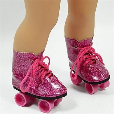 New York Doll Collection Roller Skates Pink Glitter (NYDC1154)