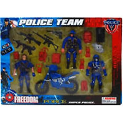 DDI 18 Piece Police Team Action Figure - Blue, Black & Red (DLR340008) 24129522