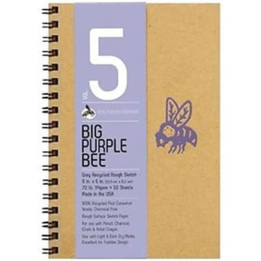 Bee Paper 9 x 6 in. Big Purple Bee Gray Recycled Rough Sketch Paper (LVN4081)