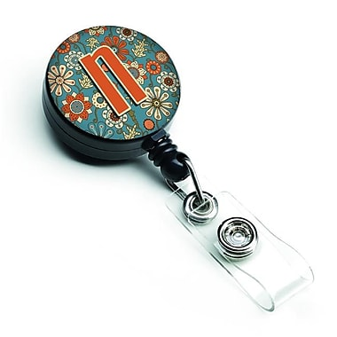 Caroline's Treasures Letter N Flowers Retro Blue Retractable Badge Reel (CRLT127332)