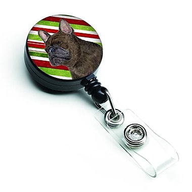 Caroline's Treasures French Bulldog Candy Cane Holiday Christmas Retractable Badge Reel (CRLT128136)