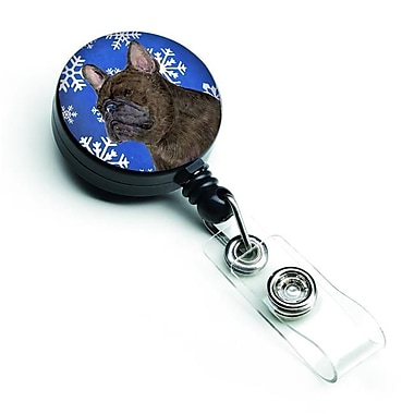 Caroline's Treasures French Bulldog Winter Snowflakes Holiday Retractable Badge Reel (CRLT128138)