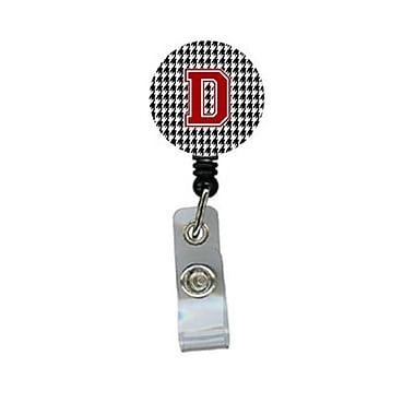 Caroline's Treasures Houndstooth Black Initial D Monogram Initial Retractable Badge Reel or ID Holder with Clip (CRLT29190)