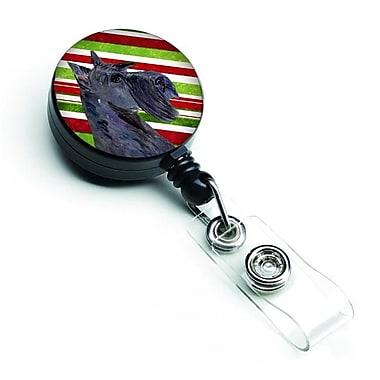 Caroline's Treasures Scottish Terrier Candy Cane Holiday Christmas Retractable Badge Reel (CRLT128121)