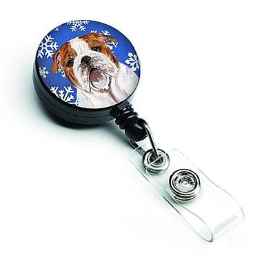 Caroline's Treasures Bulldog English Winter Snowflakes Holiday Retractable Badge Reel (CRLT128008)