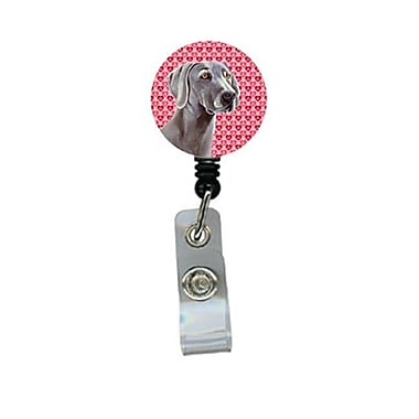 Caroline's Treasures Weimaraner Valentines Love and Hearts Retractable Badge Reel or ID Holder with Clip (CRLT28729)