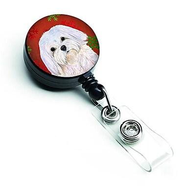Caroline's Treasures Maltese Red & Green Snowflakes Holiday Christmas Retractable Badge Reel (CRLT128114)