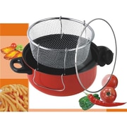 American Trading House Jl-5303R Gourmet Chef 4.5 Qt. Non Stick Deep Fryer With Frying Basket & Glass Cover. Red (AMTH179)