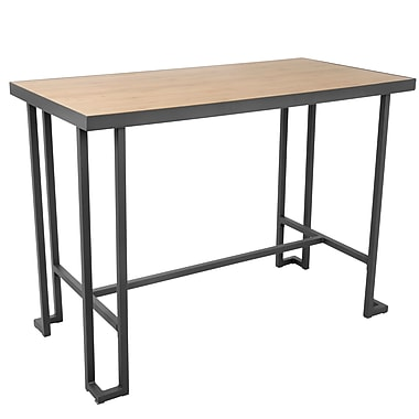 Lumisource Roman Industrial Counter Table with Grey Metal Base and Natural Bamboo Wood Top (CT-RMN GY+NA)
