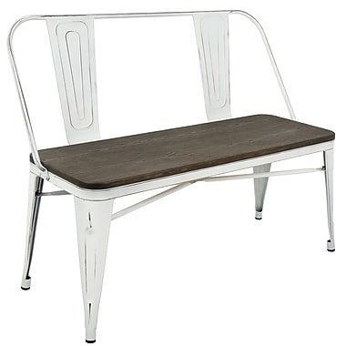 Lumisource Oregon Industrial Bench in Vintage White and Espresso (BC-OR VW+E)