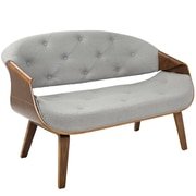 Lumisource Curvo Mid-Century Modern Tufted Sette in Walnut and Grey (CH-CRV55 WL+GY)