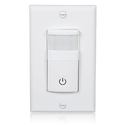 Maxxima Occupancy/Vacancy Motion Sensor PIR Wall Switch, Wall Plate Included (MEW-OVS100W)