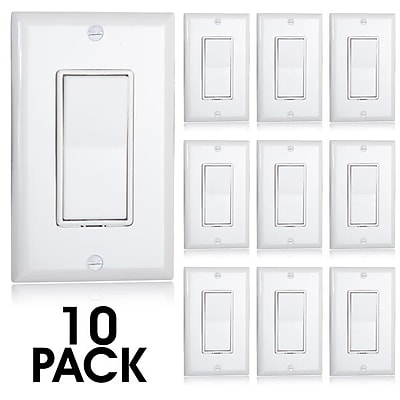 Maxxima Single Pole Decorative Wall Switch On/Off White, Wall Plates Included (MEW-S100W-10)