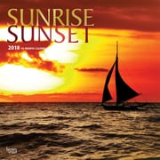 Sunrise Sunset 2018 12 x 12 Inch Square Wall Calendar with Foil Stamped Cover