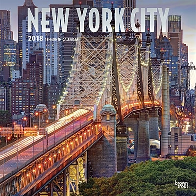 New York City 2018 12 x 12 Inch Monthly Square Wall Calendar with Foil Stamped Cover