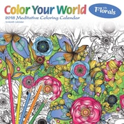 Color Your World Meditative Coloring with Florals 2018 12 x 12 Inch Monthly Square Wall Calendar with Foil Stamped Cover