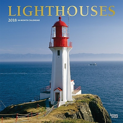 Lighthouses 2018 12 x 12 Inch Monthly Square Wall Calendar with Foil Stamped Cover
