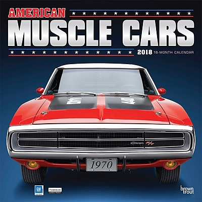 American Muscle Cars 2018 12 x 12 Inch Monthly Square Wall Calendar with Foil Stamped Cover