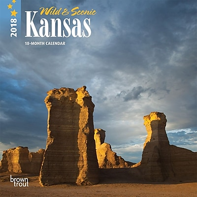 Kansas, Wild & Scenic 2018 7 x 7 Inch Monthly Mini Wall Calendar