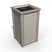 Mayne Lakeland Tall 22.5 Gallon Polyethylene Waste Bin with Liner & Lid Sandstone (8871-SG)