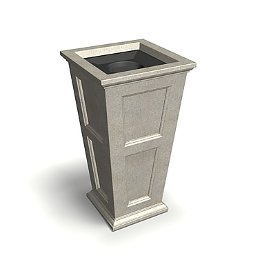 Mayne Fairfield Tall 24 Gallon Polyethylene Waste Bin with Liner & Lid Sandstone (8874-SG)