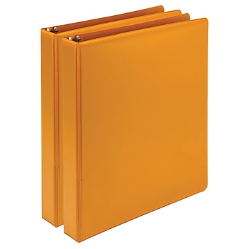 """Samsill Fashion Color Durable 1"""" 3-Ring View Binders, Coral, 2/Pack (U86373)"""