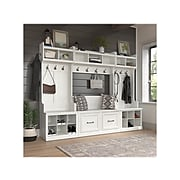 "kathy ireland® Home by Bush Furniture Woodland 69"" Full Entryway Storage Set with 10 Shelves, White Ash (WDL013WAS)"