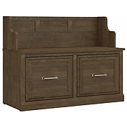 """kathy ireland® Home by Bush Furniture Woodland 32"""" Entryway Bench with Doors, Ash Brown (WDL005ABR)"""
