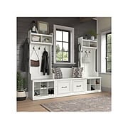 """kathy ireland® Home by Bush Furniture Woodland 69"""" Entryway Storage Set with 18 Shelves, White Ash (WDL011WAS)"""