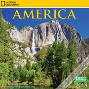 National Geographic America 2018 12 x 12 Inch Square Wall Calendar by Zebra