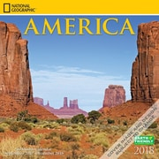 National Geographic America 2018 Mini 7 x 7 Inch Wall Calendar by Zebra