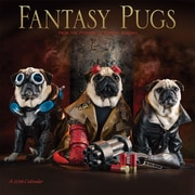 Fantasy Pugs 2018 12 x 12 Inch Monthly Square Wall Calendar by Wyman