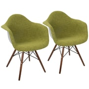 LumiSource Neo Flair Duo Mid-Century Modern Dining / Accent Chair in Green and Grey (CH-NFLF GN+E2)