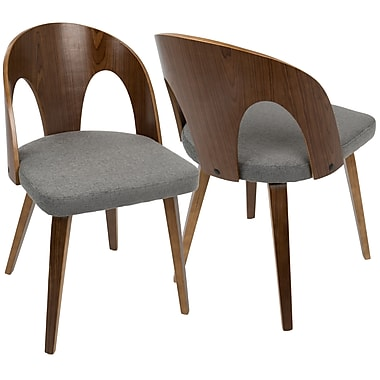 LumiSource Ava Mid Century Modern Dining Chair in Walnut Wood and Grey Fabric (CH-AVA WL+GY)