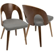 LumiSource Ava Mid-Century Modern Dining Chair in Walnut Wood and Gray Fabric (CH-AVA WL+GY)