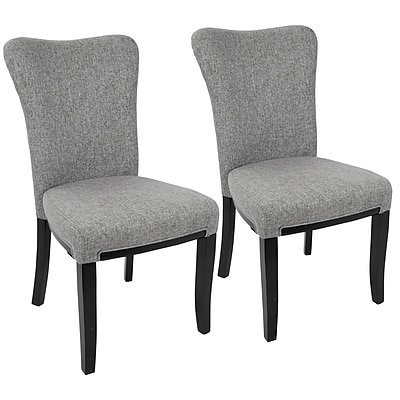 LumiSource Olivia Contemporary Dining Chair in Espresso Wood and Grey Fabric (DC-OLVA E+GY2)
