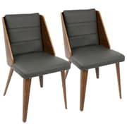LumiSource Galanti Mid-Century Modern Dining Chair in Walnut Wood and Grey PU (CH-GAL WL+CR2)