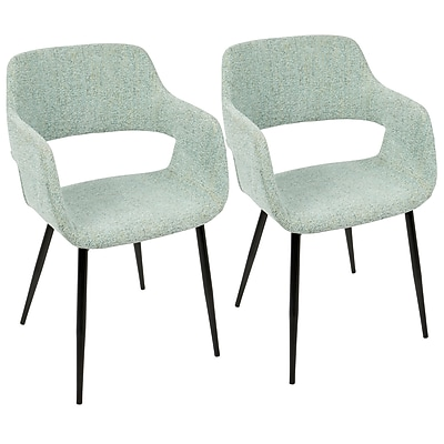 LumiSource Margarite Mid-Century Modern Dining / Accent Chair in Light Green Fabric  (CH-MARG BK+LGN2)