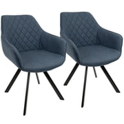 LumiSource Outlaw Industrial Dining / Accent Chair in Blue PU (CH-OUTLW BK+BU2)