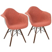 LumiSource Neo Flair Duo Mid Century Modern Dining / Accent Chair in Red and Grey (CH-NFLF R+E2)