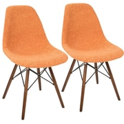 LumiSource Brady Duo Mid-Century Modern Dining / Accent Chair in Grey and Orange (CH-BRDY O+E2)