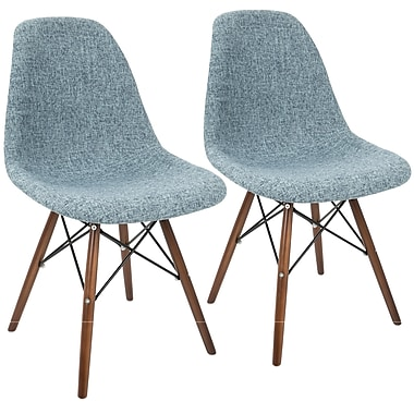 LumiSource Brady Duo Mid Century Modern Dining / Accent Chair in Smokey Blue Grey and Espresso (CH-BRDY GYBU+E2)