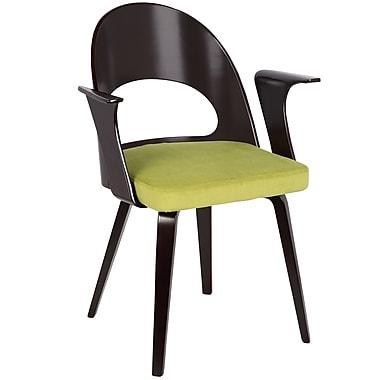 LumiSource Verino Mid Century Modern Dining Chair in Espresso and Green Velvet (CH-VRNO E+GN)