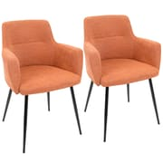 LumiSource Andrew Contemporary Dining / Accent Chair in Orange Fabric (CH-ANDRW BK+O2)