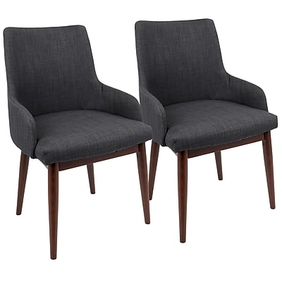 LumiSource Santiago Mid-Century Modern Dining / Accent Chair Charcoal Fabric Upholstery (DC-SNTGO WLDGY2)