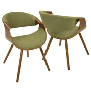 LumiSource Curvo Mid-Century Modern Chair in Walnut with Orange Fabric Seat  (CH-CURVO WL+GN)