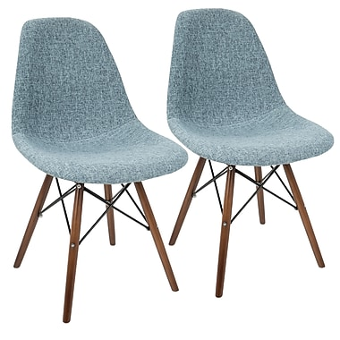 LumiSource Brady Duo Mid Century Modern Dining / Accent Chair in Charcoal Grey and Espresso (CH-BRDY CHAR+E2)