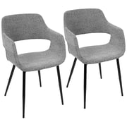 LumiSource Margarite Mid-Century Modern Dining / Accent Chair in Grey Fabric (CH-MARG BK+GY2)